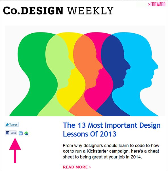Example of newsletter encouraging social sharing (Co.Design Weekly)