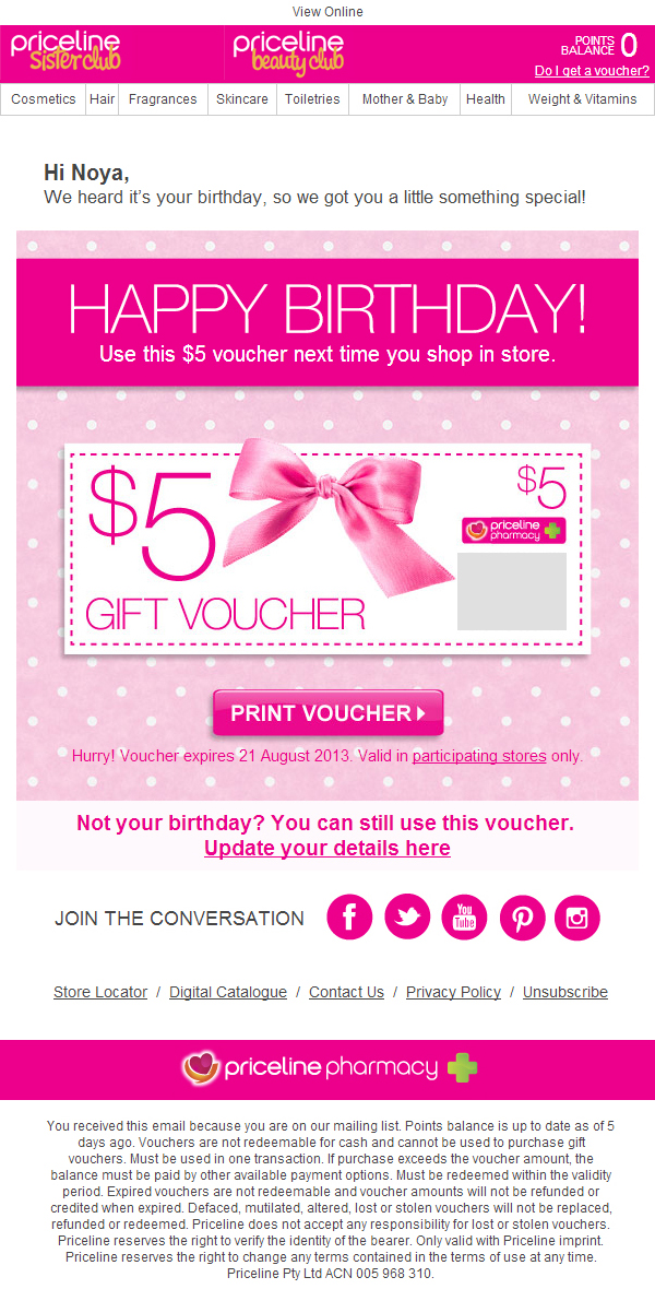 Priceline A Birthday Gift For You Email