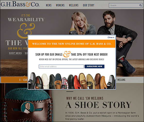 Signup example with benefit-based call-to-action (G.H. Bass & Co)