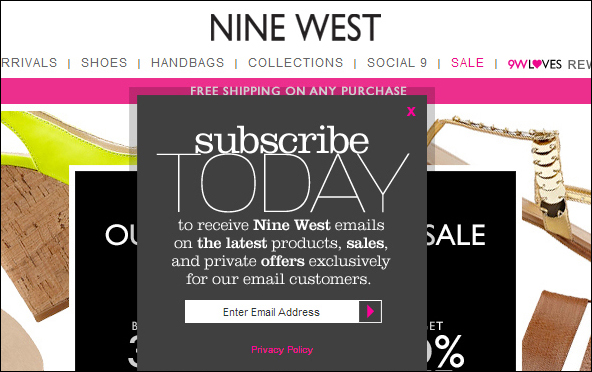 Example of newsletter signup with exclusive offer (Nine West)