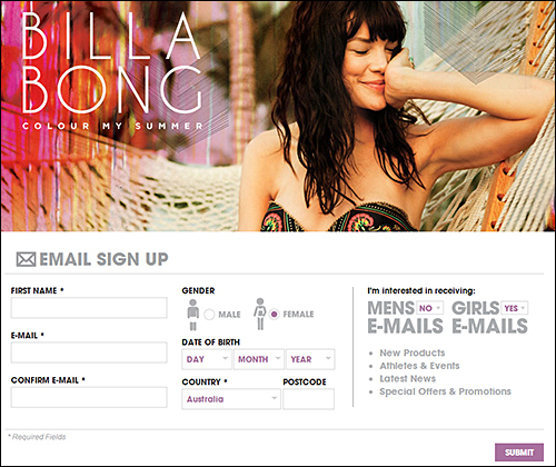 Example of newsletter signup requesting a tasteful amount of personalization details (Billabong Australia)