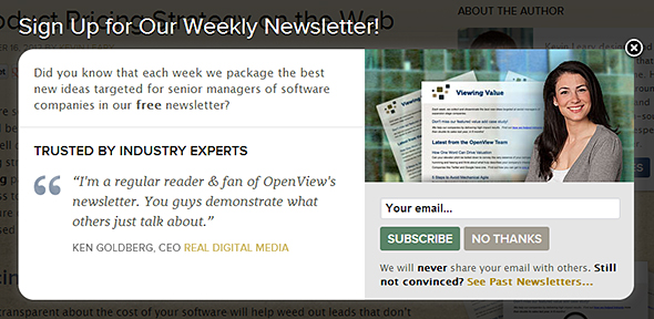 "Example of newsletter signup applying ""social proof"" in the form of a testimonial (OpenView)"