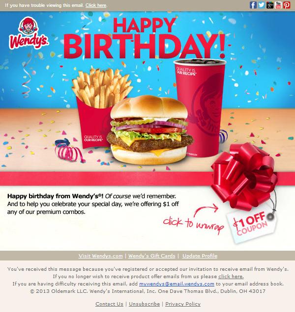 Wendys Birthday Email