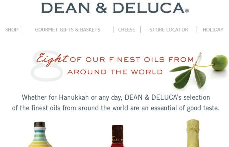 Dean & DeLuca Standout Subject Line - Oil-vey - November 11, 2013